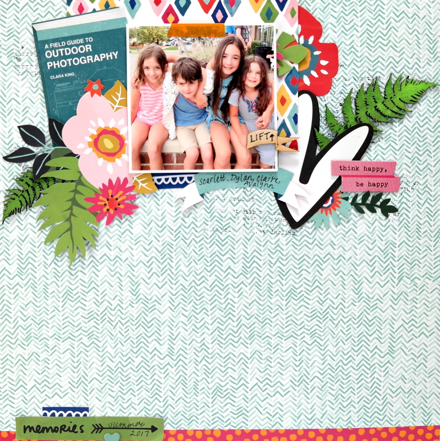 Colorful Floral Mixed Media Summer Vacation Scrapbook Layout with Chipboard and Wood Veneer Embellishments