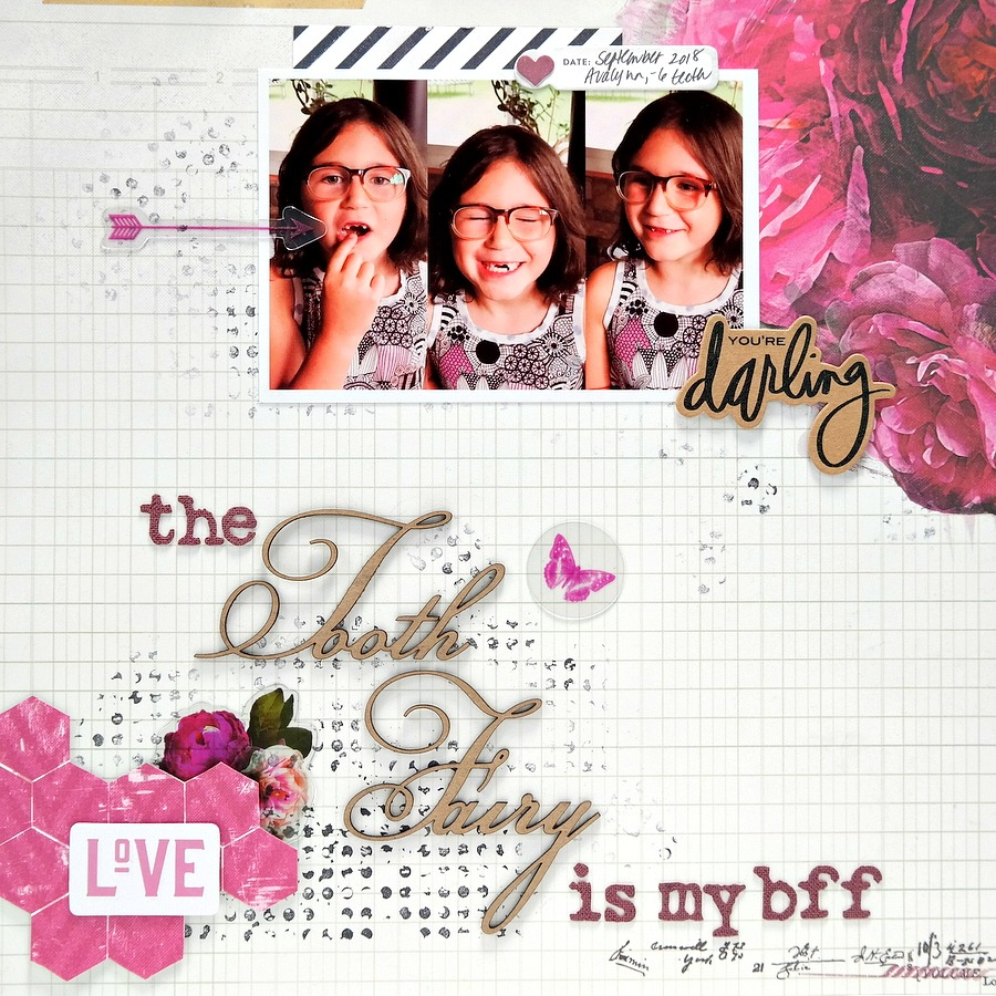 The Tooth Fairy Is My BFF Floral Pink, Black,and Kraft Scrapbook Layout with Chipboard Title