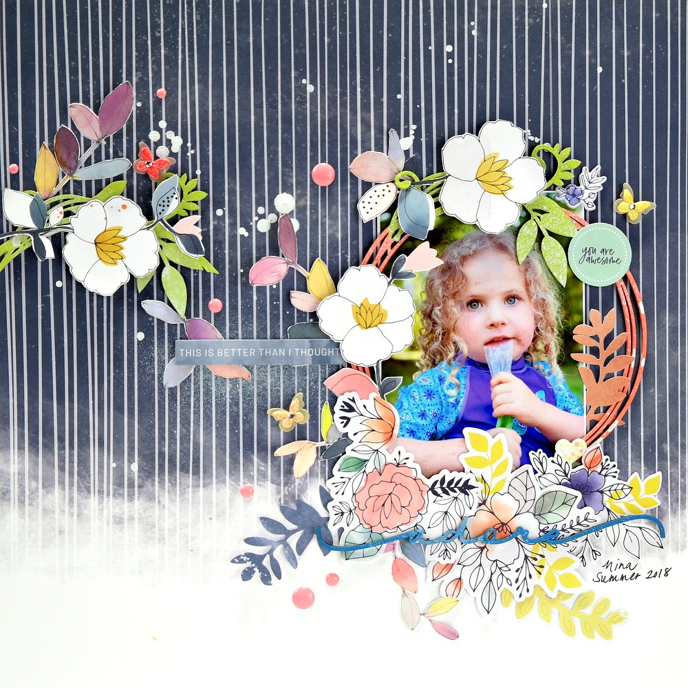Adore Indigo Hills 2 Scrapbook Layout with Painted Chipboard Embellishments