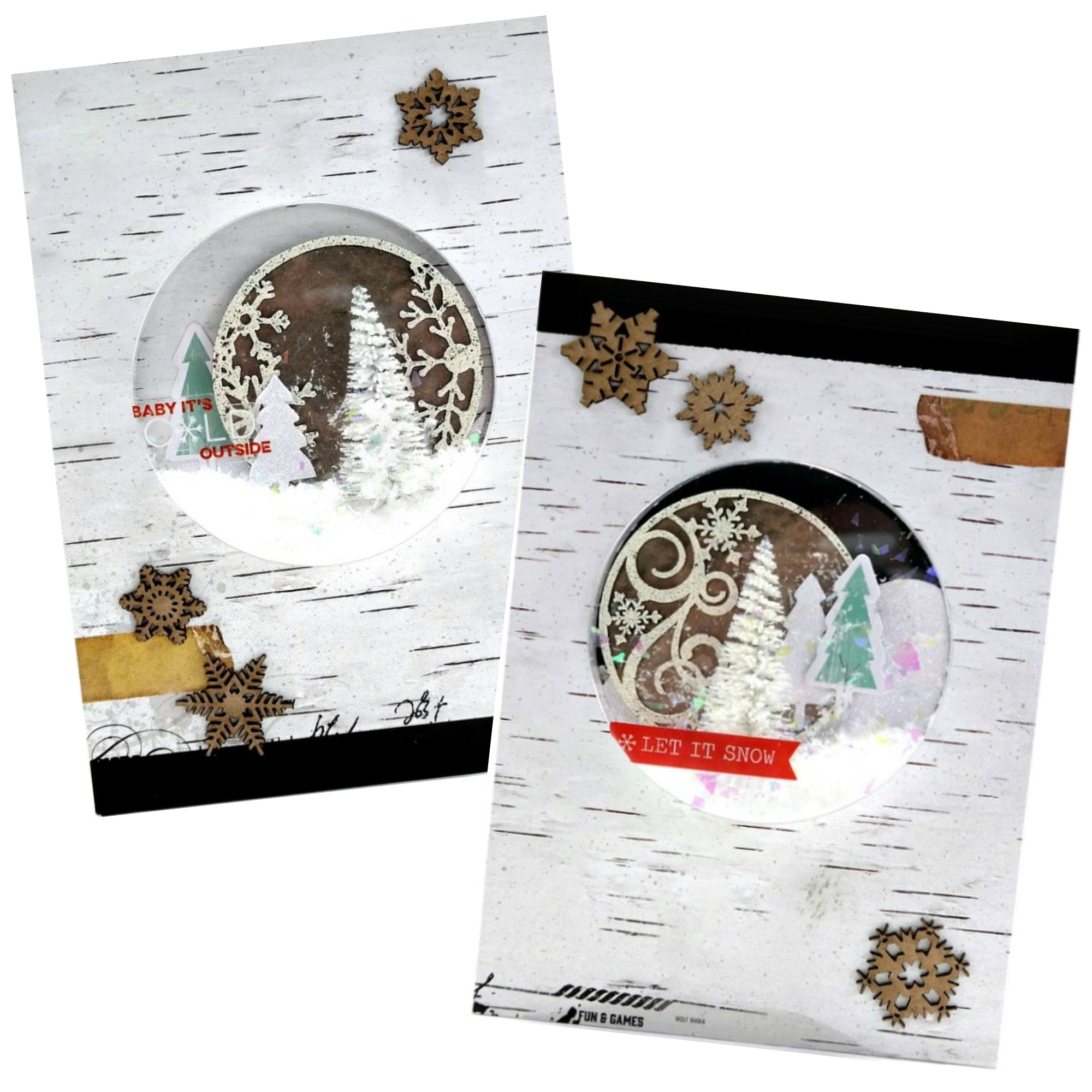 Winter Artist Trading Coin Shaker Cards by Dana Tatar