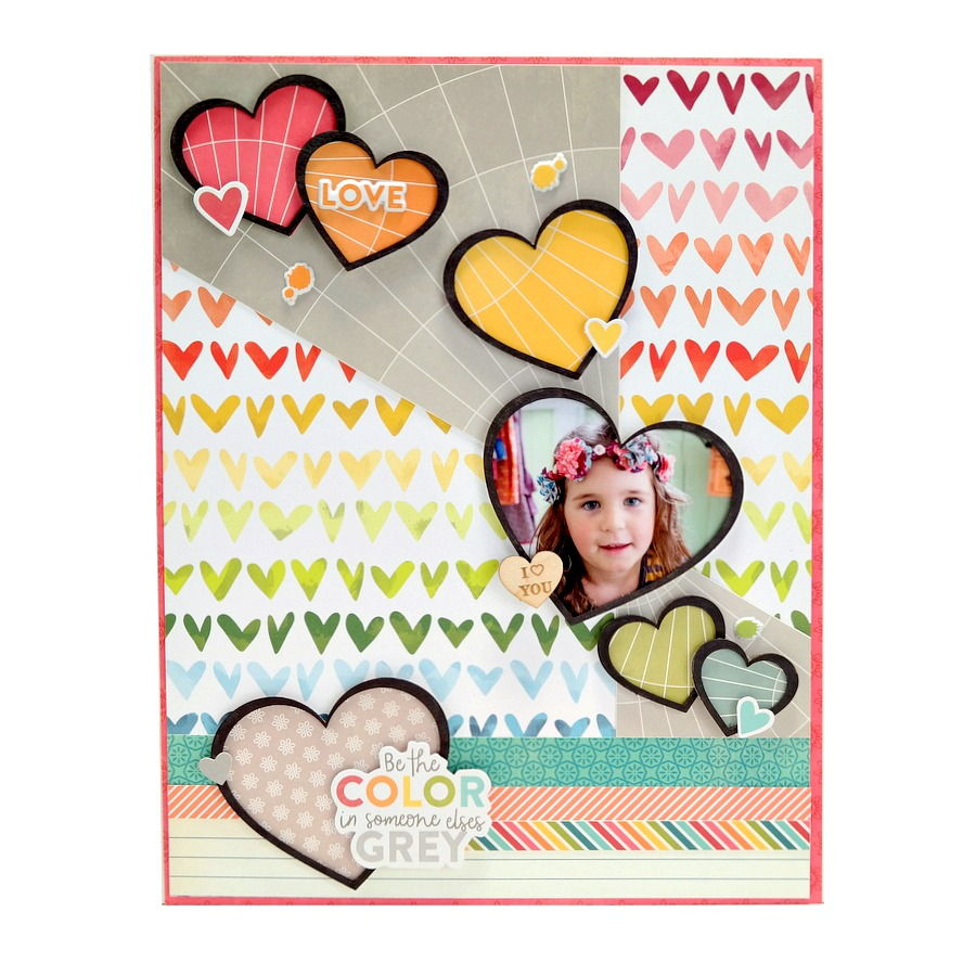 Be The Color In Someone Elses Grey Rainbow Heart Scrapbook Layout by Dana Tatar
