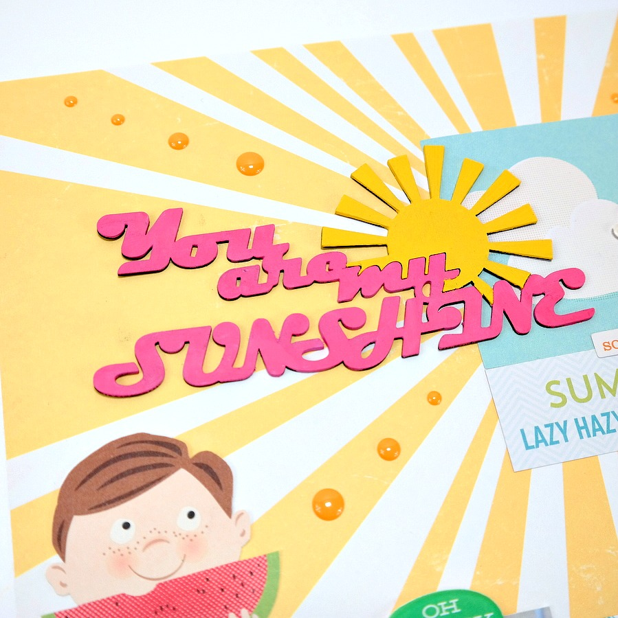 You Are My Sunshine Painted Chipboard Title with Pink and Yellow Acrylic Paint
