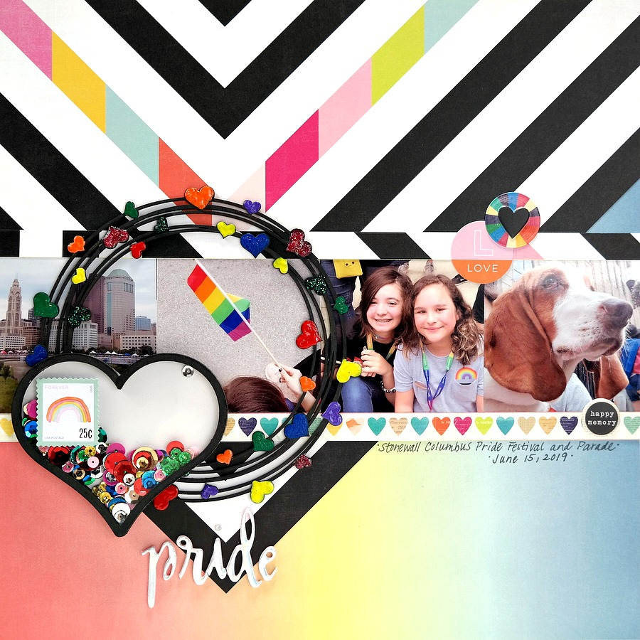 Pride Scrapbook Layout with Chipboard Rainbows and Hearts