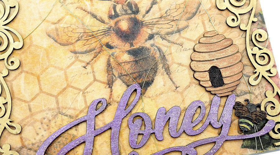 Sweet As Honey Queen Bee Arch with Painted Chipboard Designs and Decoupage Paper