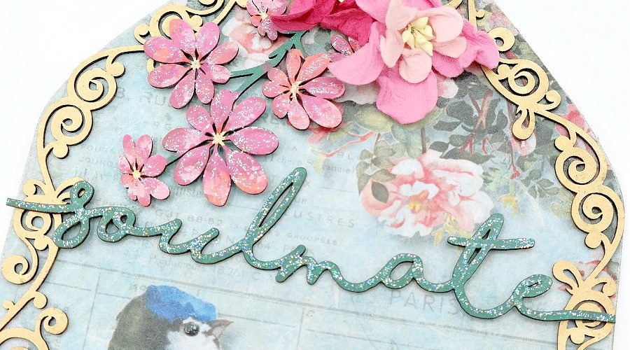 How to Layer Decoupage Paper and Chipboard to Create a Mixed Media Arch