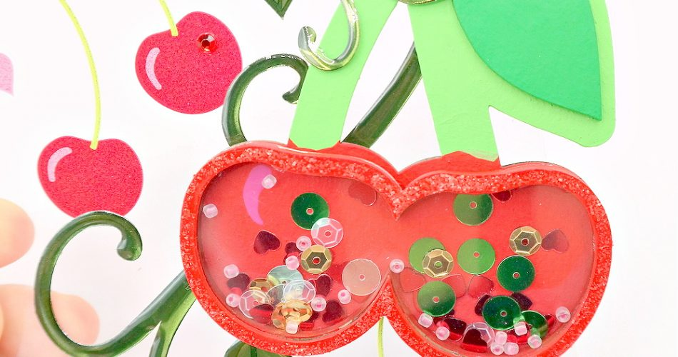 Chipboard Cherry Shaker Embellishment Colored with Acrylic Paint and Filled with Red Pink and Green Sequins and Beads