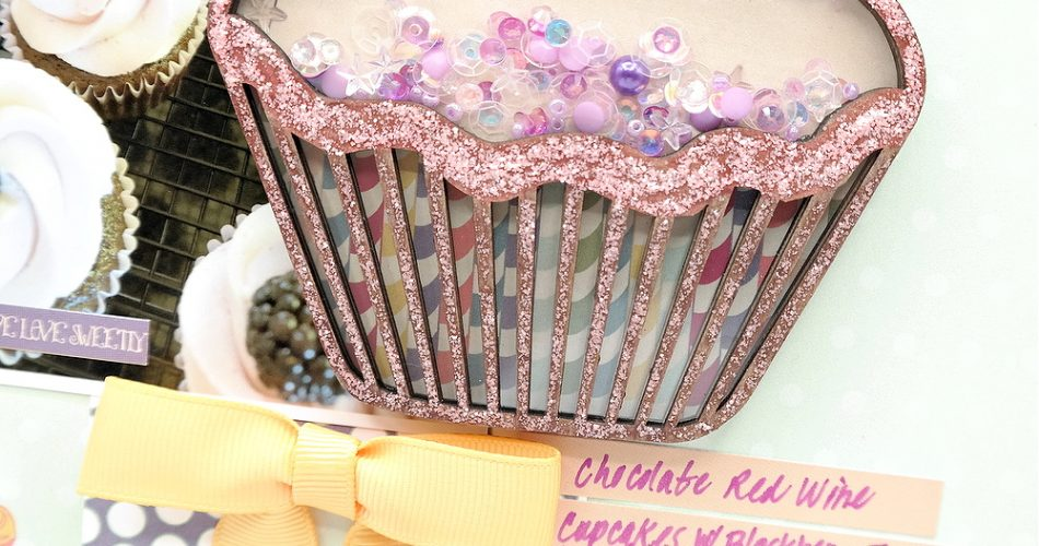 Chipboard Shaker Cupcake Element Embellished with Patterned Paper Glitter Glue and Sequins on a Scrapbook Layout