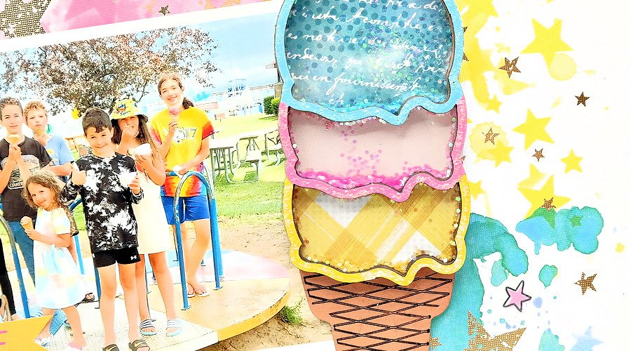 Painted Chipboard Ice Cream Cone Shaker Backed with Patterned Paper and Filled with Glitter