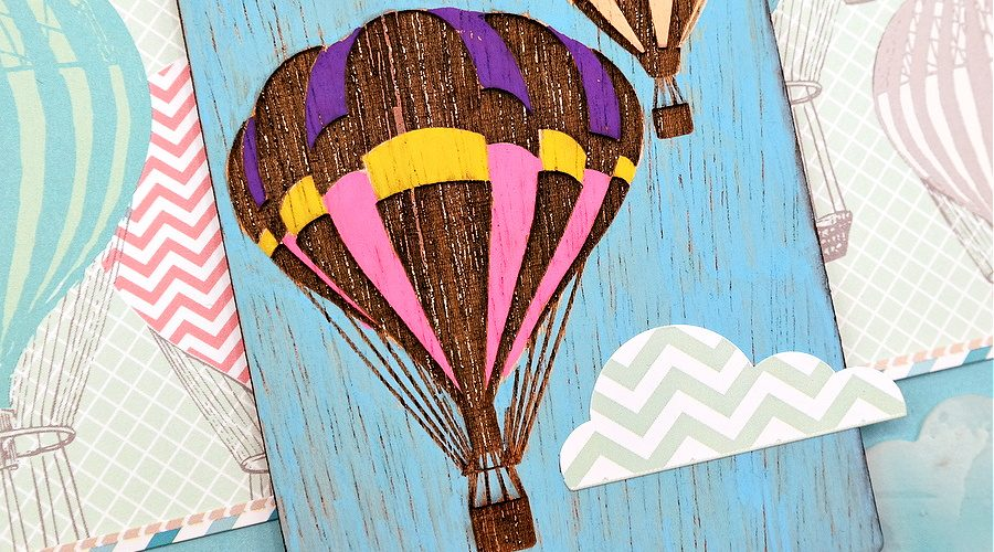 How to Use Paint Pens to Add Color to a Wood Veneer Hot Air Balloon Project Life Card