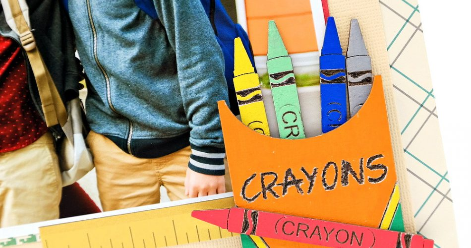 Painted Chipboard Box of Crayons Embellishment on a Back to School Boys Scrapbook Layout