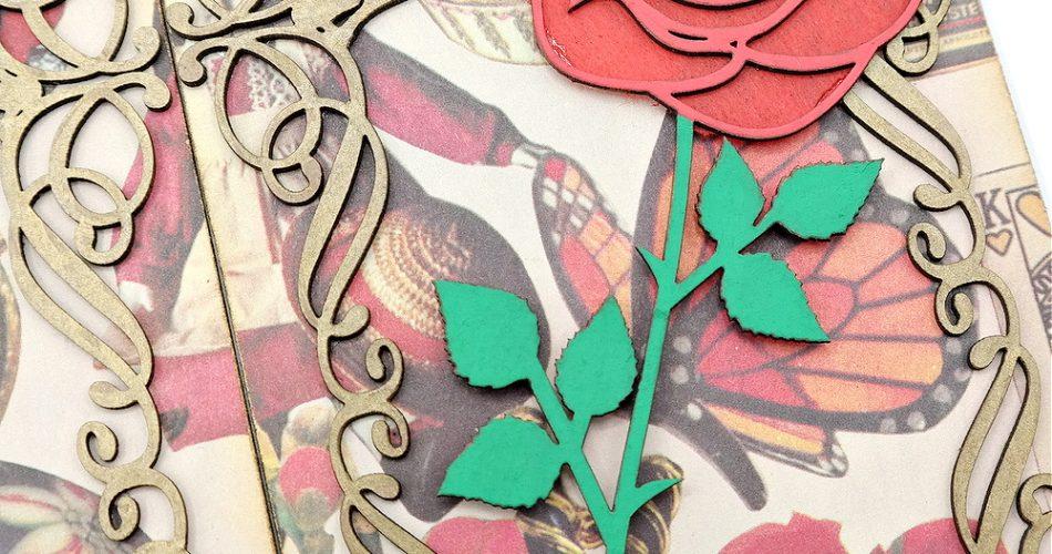 Chipboard Rose Embellishment with Red and Green Acrylic Paint and Red Tissue Paper
