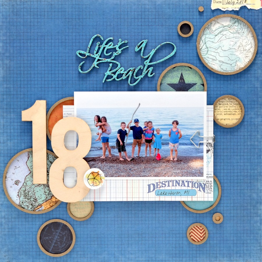 Life's A Beach Layout with Patterned Paper Circles and Wood Numbers