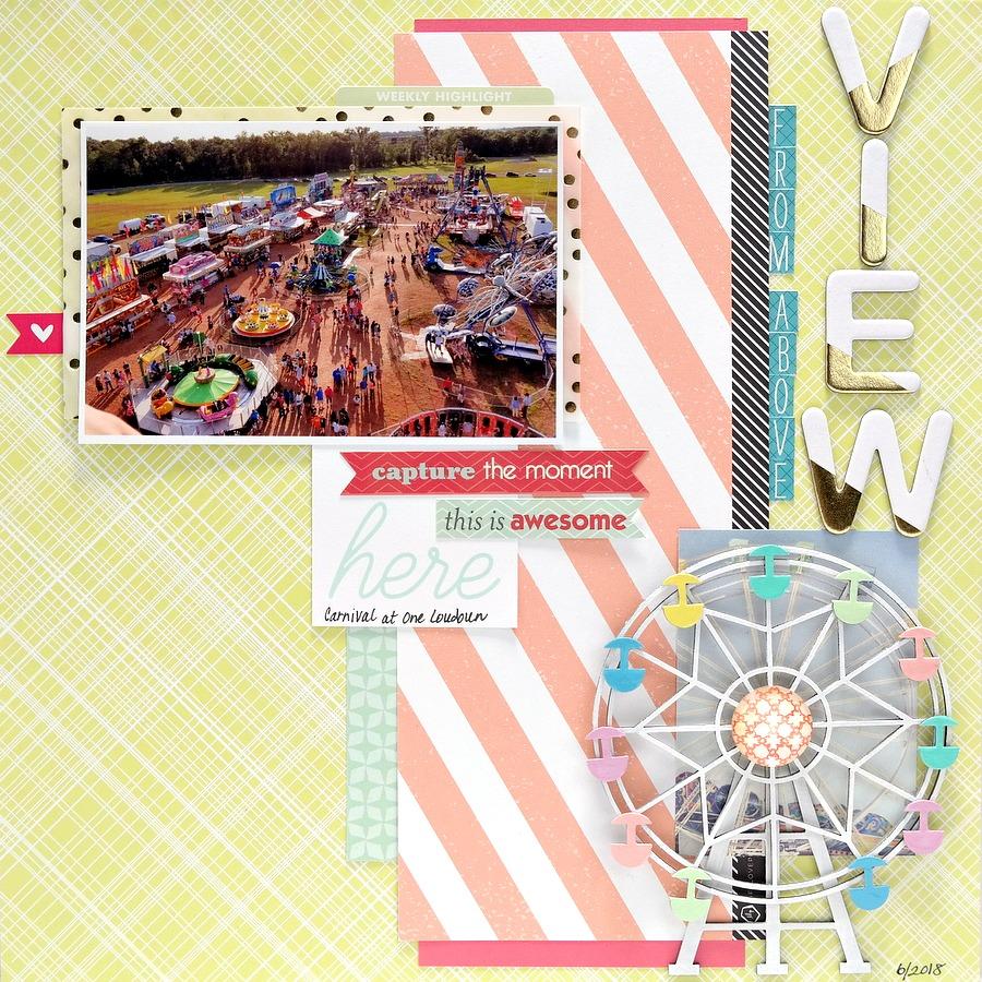 Summer Carnival Scrapbook Layout with Chipboard Ferris Wheel