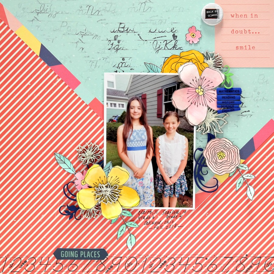 Going Places Back to School Layout with Stamped Patterned Papers Watercolor Flowers and Embossed and Painted Chipboard