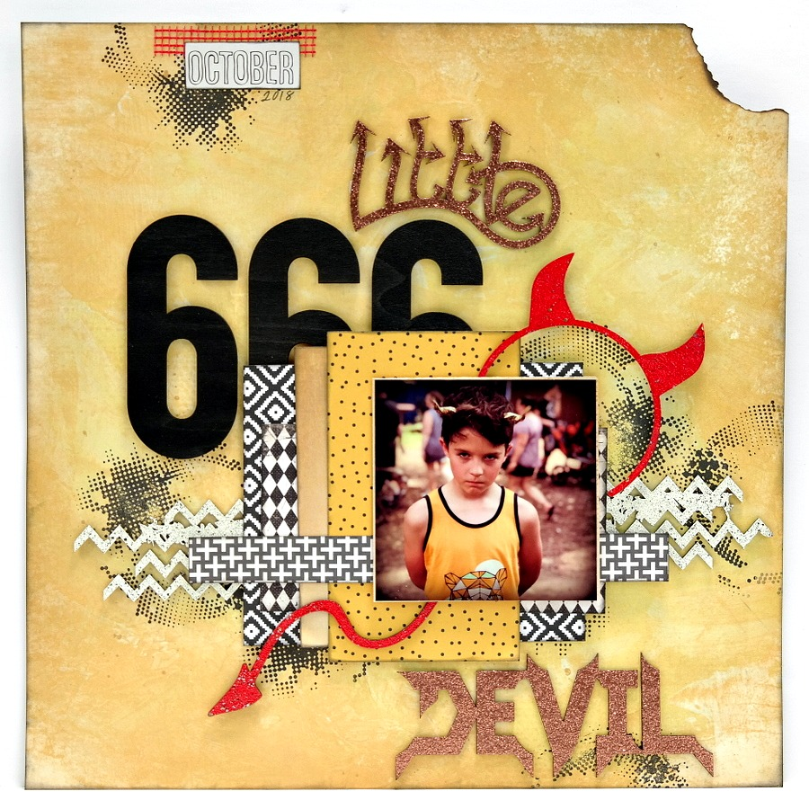 Little Devil Halloween Scrapbook Layout with Painted and Embossed Chipboard