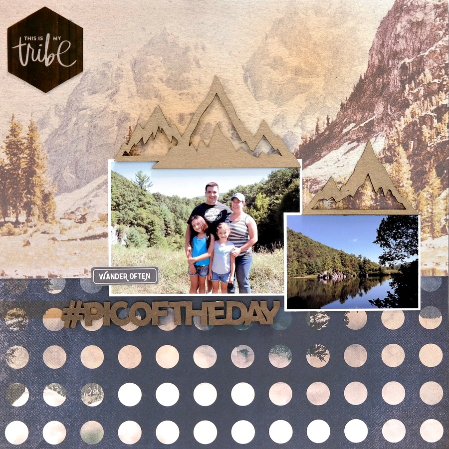 Pic of the Day Camping Scrapbook Layout with Chipboard Mountains and Title