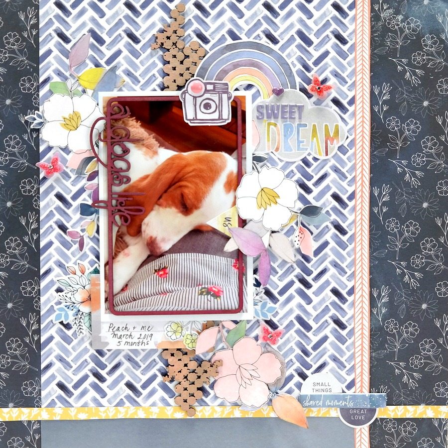 A Dogs Life Sweet Dream Scrapbook Layout with Inked Chipboard and Flowers