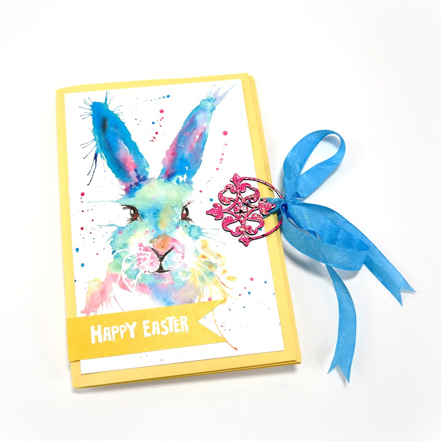 Happy Easter Greeting Card Mini Album with Splatter Ink Watercolor Bunny Cover