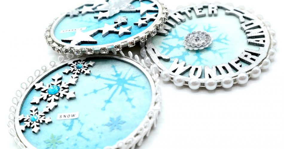 Winter Artist Trading Coins with Stenciled Snowflakes and Embellished Edges