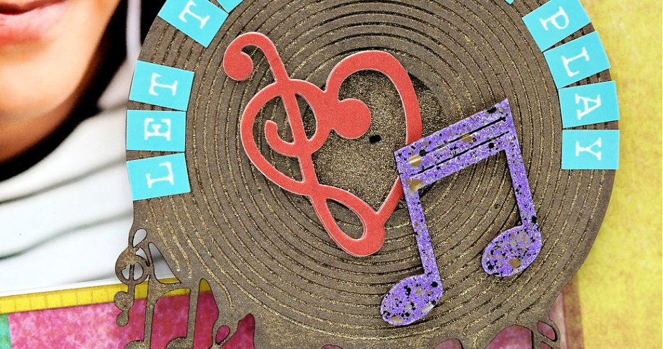 Chipboard Record Title Spot with Wood Veneer Music Note and Die-Cut Music