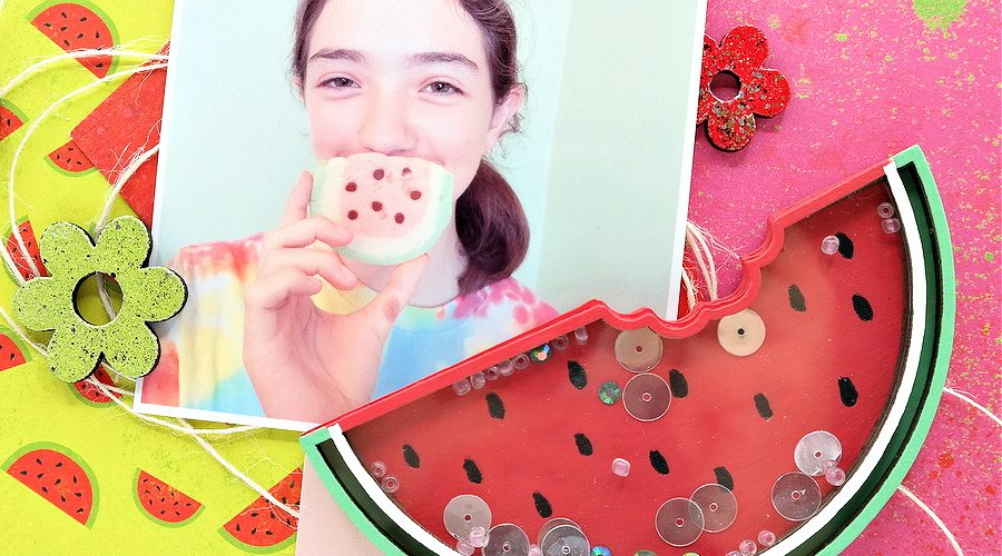 Watermelon Slice Chipboard Shaker Embellishment Colored with Acrylic Paint and Filled with Sequins and Beads